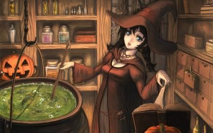 Bruxa fazendo poção mágica